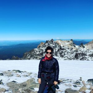 Clesi Bennett, Environmental Scientist with the California Natural Resources Agency, hiking Mount Lassen.