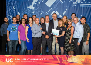 Photo of CAL FIRE Enterprise GIS Team Accepting a Special Achievement in GIS Award at the 2018 ESRI User Conference.